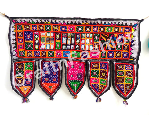 Indian Embroidered Mirror Work Vintage Toran