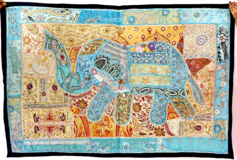 Designer  Beaded Elephant Tapestry