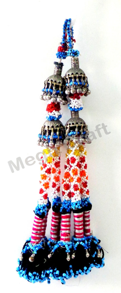 Afghani Silver Glass Beads Vintage Tassel( 2PC)