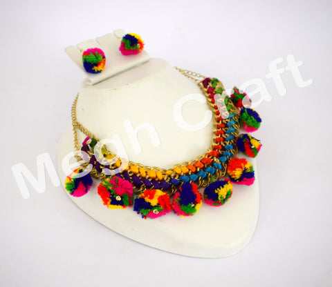 Indian Fashion Wear Pom pom necklace