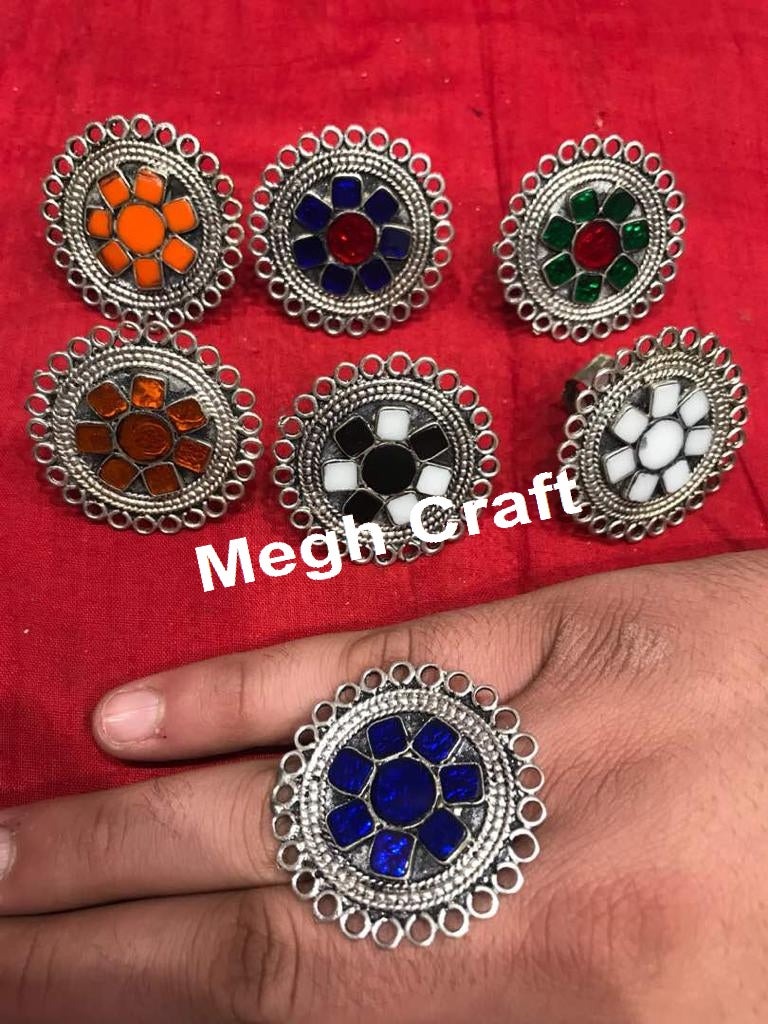 Colored Stone Beaded Germans Silver Rings