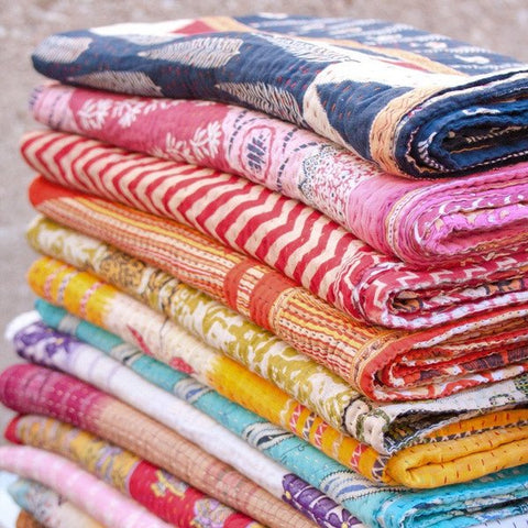 Wholesale Lot : -  Indian Vintage Tribal Kantha Quilts - Vintage Cotton Quilts 5 Pieces