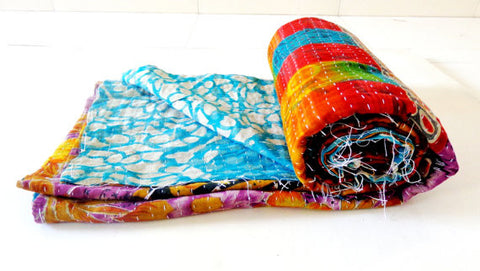 Kantha Throw,Reversible Kantha Quilt,Patchwork kantha quilts,Bohemian