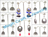 Wholesale Lot :Oxidized Silver Plated Fashion Earrings,Navaratri Earrings -30 Pairs Assorted