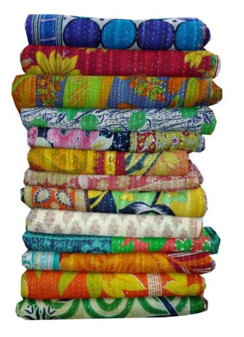 Wholesale Lot : -Vintage Kantha Quilt-Bedding Reversible Gudri quilts throw  5 Pieces