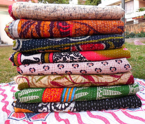 Wholesale Lot : - Vintage Handmade Kantha Quilts - Old Sari Reversible Throw 5 Pieces