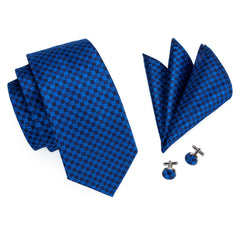 Blue Plaid Necktie Pocket Square Cufflinks Set - Jacquard Woven Silk Necktie
