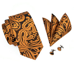 Dark Yellow Paisley Necktie Pocket Square Cufflinks Set