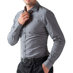 Fashion Slim Fit Dress Shirt - Formal Solid Color Shirt