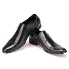 Black Leather Men's Casual Slip On Dress Shoes