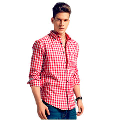 Men's Plaid Button Down Flannel Shirt - Casual Slim Fit Long Sleeve Shirt