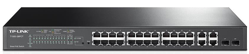 TP-Link T1500-28PCT (TL-SL2428P) 24-Port 10/100Mbps + 4-Port Gigabit Smart PoE+ Switch L2/L3/L4 QoS and IGMP snooping optimize WEB/CLI managed modes - Straight Forward AV and IT