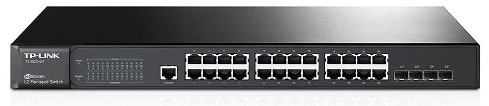 TP-Link T2600G-28TS (TL-SG3424) JetStream 24-Port Gigabit L2 Managed Switch with 4 SFP Slots - Straight Forward AV and IT