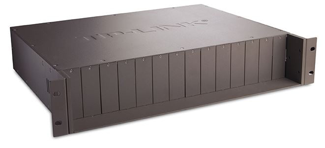 "TP-Link MC1400 19"" 2U Rackmount Chassis for 14-Slot media converters redundant power supply Hot-Swappable Mounted two cooling fans - Straight Forward AV and IT"