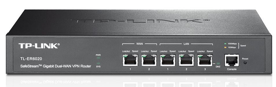 TP-Link TL-ER6020 SafeStream Gigabit Dual-WAN VPN Router 2 Gigabit WAN ports 2 Gigabit LAN ports 1 Gigabit LAN/DMZ port 1 console port 50 IPsec VPN - Straight Forward AV and IT