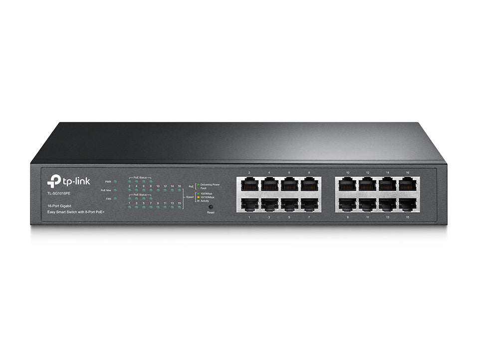 TP-Link TL-SG1016PE 16-Port Gigabit Desktop/Rackmount Switch with 8-Port PoE+ 32Gbps IEEE 802.3af/at Priority Function Mac Address Auto-Learning - Straight Forward AV and IT