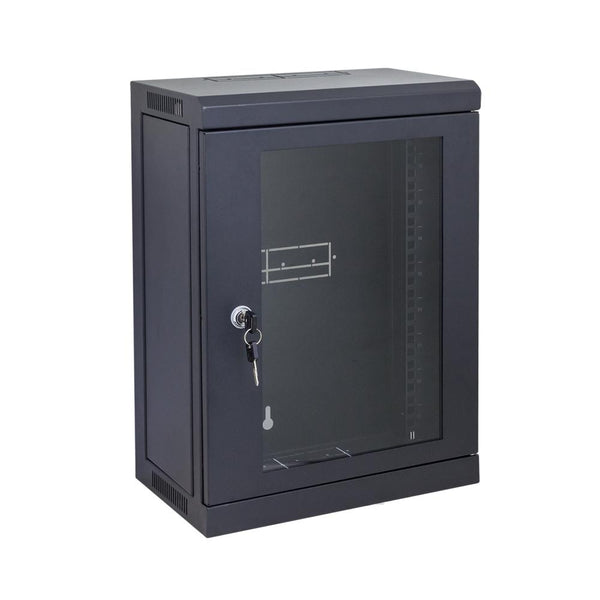 "9RU Mini Black Cabinet for 10"" Patch Panels - Straight Forward AV and IT"