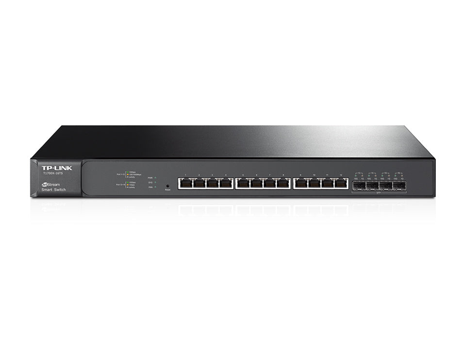 TP-Link T1700X-16TS JetStream 12-Port 10GBase-T Smart Switch with 4x10G SFP+ Slots L2+ IPv6 WEB/CLI - Straight Forward AV and IT