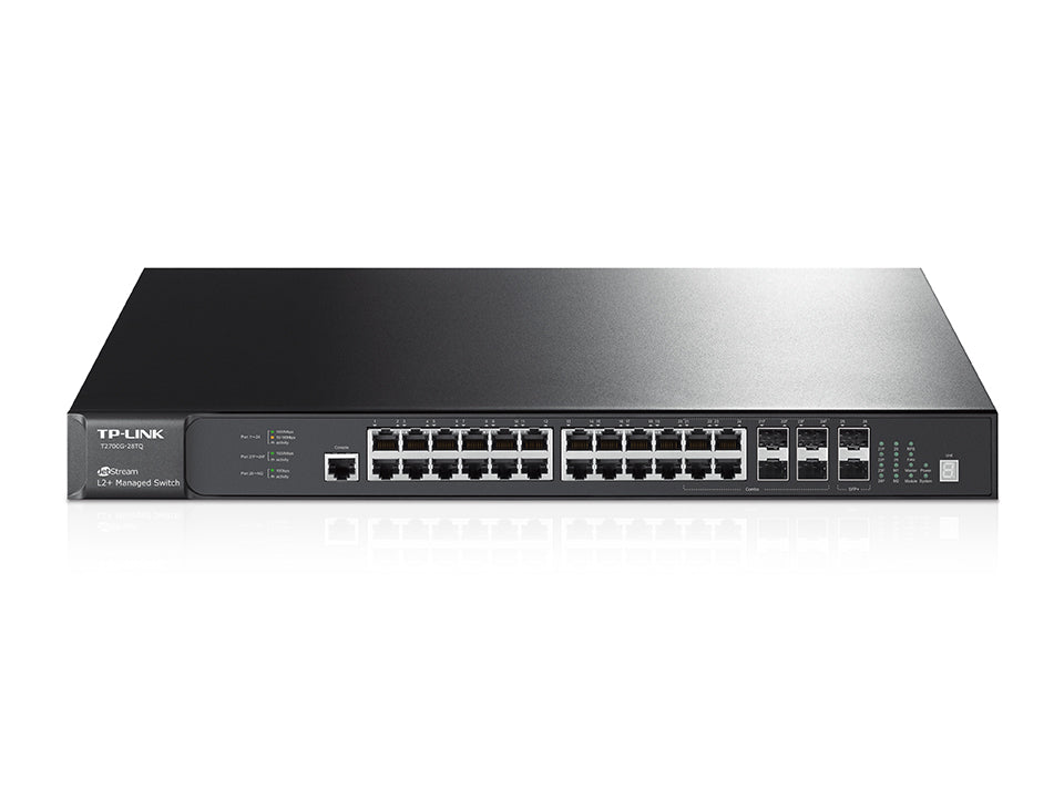 TP-Link T2700G-28TQ JetStream 28-Port Gigabit Stackable L2+ Managed Switch 24x1Gbps LAN Ports 4 combo gigabit SFP Slots LS - Straight Forward AV and IT