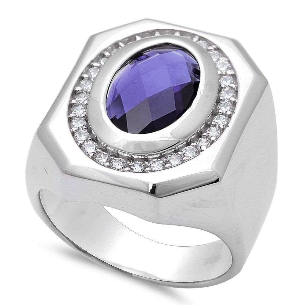palladium polished mens white valitutti s silver band ring pin men michael tanzanite topaz