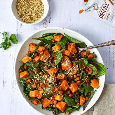 Recipe: Roasted Sweet Potato & Chickpea Salad with Harissa Drizzle