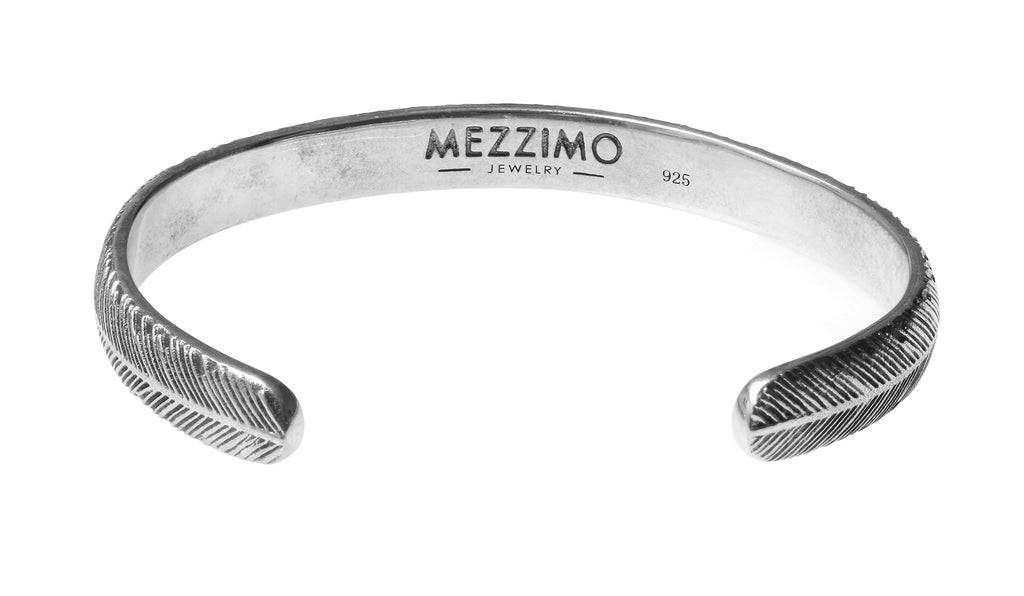Mezzimo Vintage Feather Bangle | 925 Sterling Silver