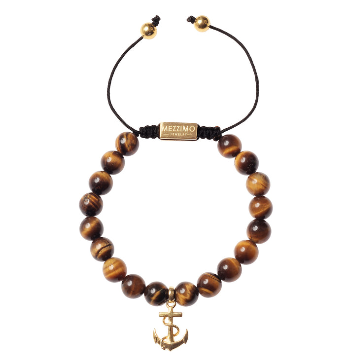 Mezzimo Tiger Eye | 18k Gold Anchor Bracelet