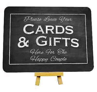 Chalkboard style cards and gifts sign