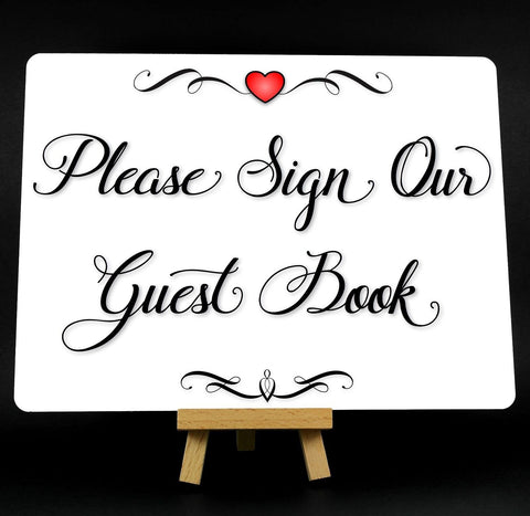 A5 Fancy Heart Wedding Guest Book Metal Plaque Sign