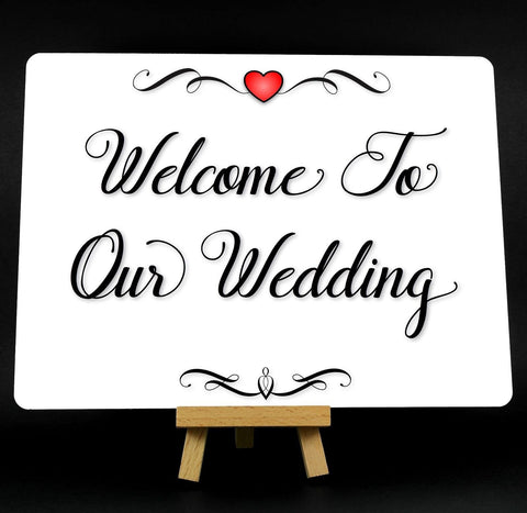 A5 Fancy Heart Welcome To Our Wedding Metal Plaque Sign