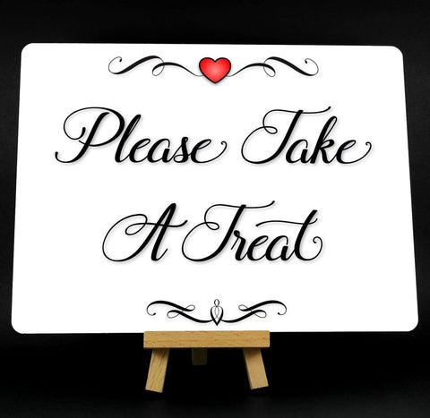 A5 Fancy Heart Please Take A Treat Sweet Table Wedding Metal Plaque Sign