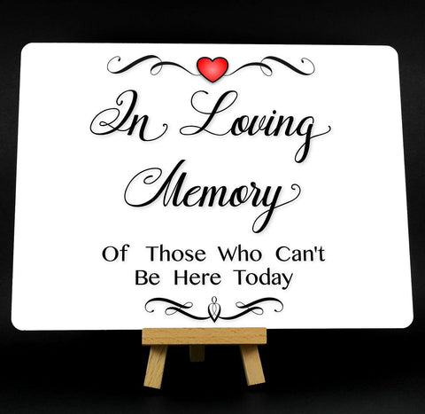 A5 Fancy Heart In Loving Memory Wedding Memorial Metal Plaque Sign