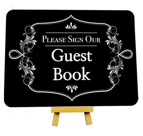 Fancy Border Black Wedding Guest Book Metal Plaque Sign