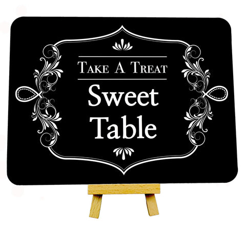 Fancy Border Black Wedding Sweet Table Metal Plaque Sign