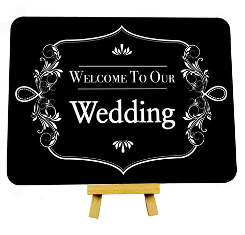 Fancy Border Black Welcome To Our Wedding Metal Plaque Sign