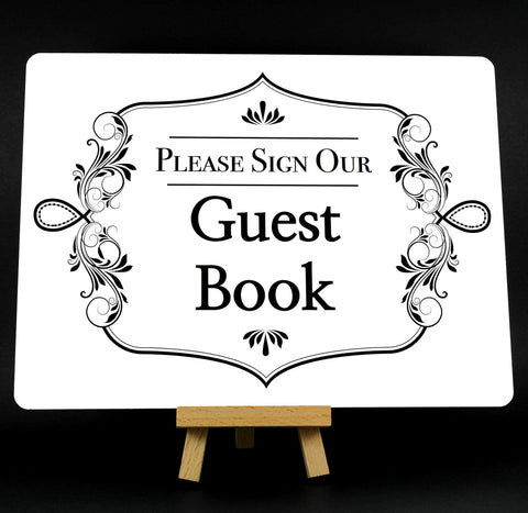 Fancy Border White Wedding Guest Book Metal Plaque Sign