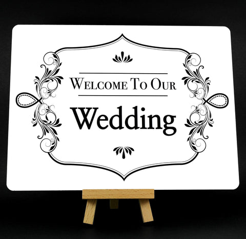 Fancy Border White Welcome To Our Wedding Metal Plaque Sign