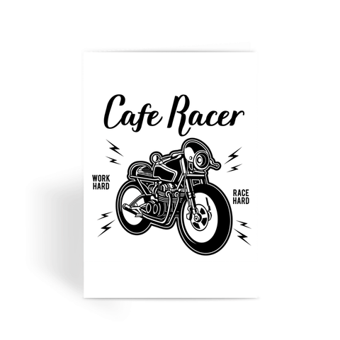 Cafe Racer Motorcycle Greeting Card
