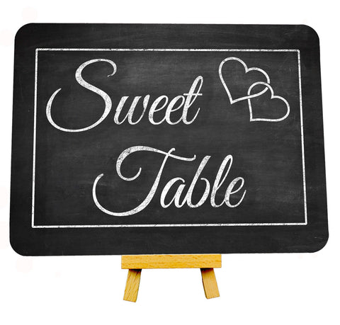 Vintage Heart Chalkboard Style Wedding Sweet Table Metal Plaque Sign