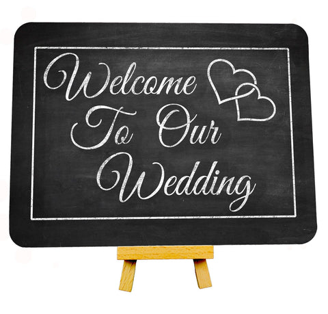Vintage Heart Chalkboard Style Welcome To Our Wedding Metal Plaque Sign