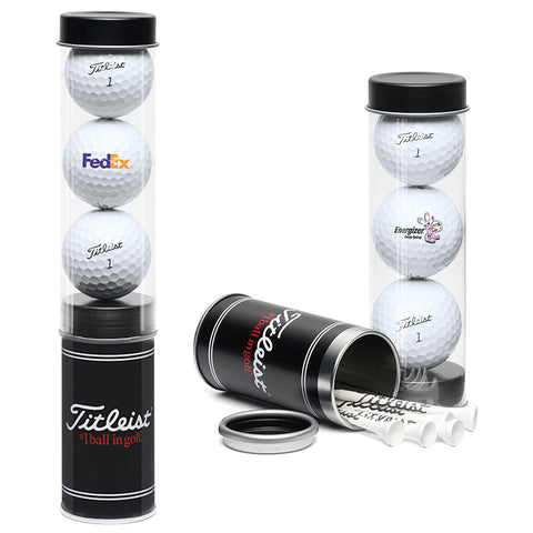 Titleist Custom Printed 3Ball Tube with Stock Tees