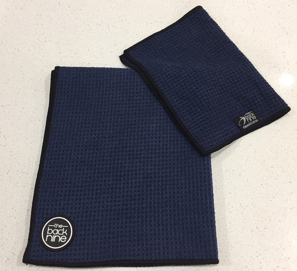 AquaPro 400A Waffle Weave Golf Towel Twin Pack - Navy/Black - theback9