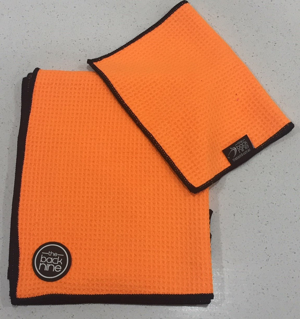 AquaPro 400A Waffle Weave Golf Towel Twin Pack - Orange/Black - theback9