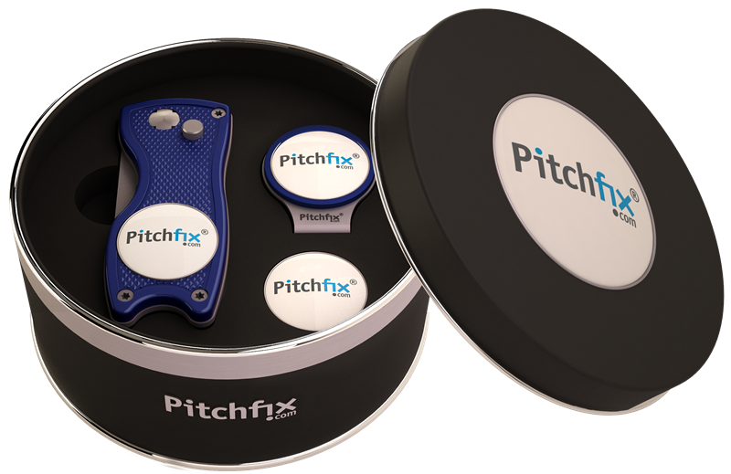 Pitchfix Hybrid Repair Tool & Hat Clip with 3 Ball Markers in Presentation Tin - theback9