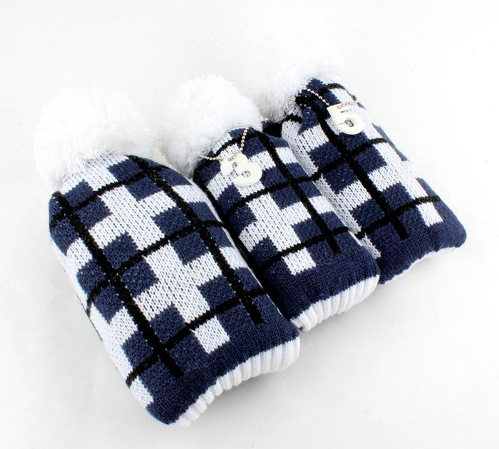 Knitted Pom Pom Head Cover Set of Three including Driver 3 Wood and Hybrid Black Navy and White