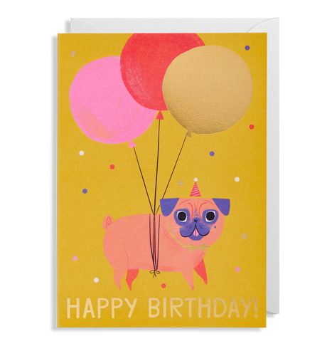 Allison Black - Pug Birthday Card