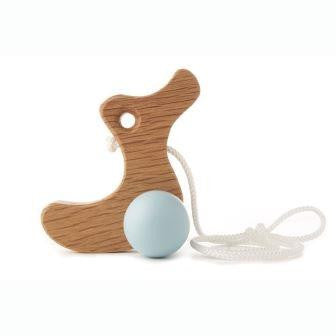 Hop & Peck - Duckling Pull Along Toy - duck egg blue