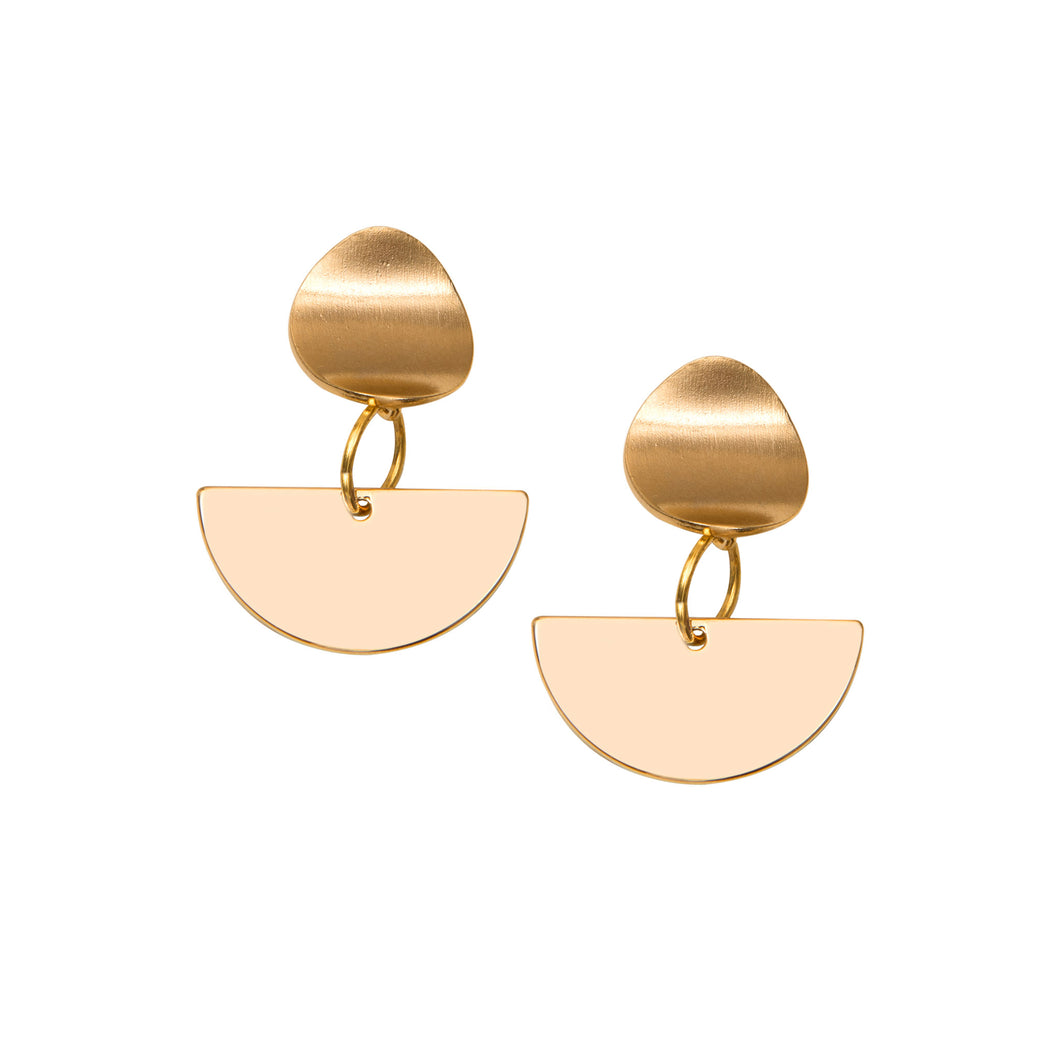 A weathered penny Aphea Earrings - Gold semi circle