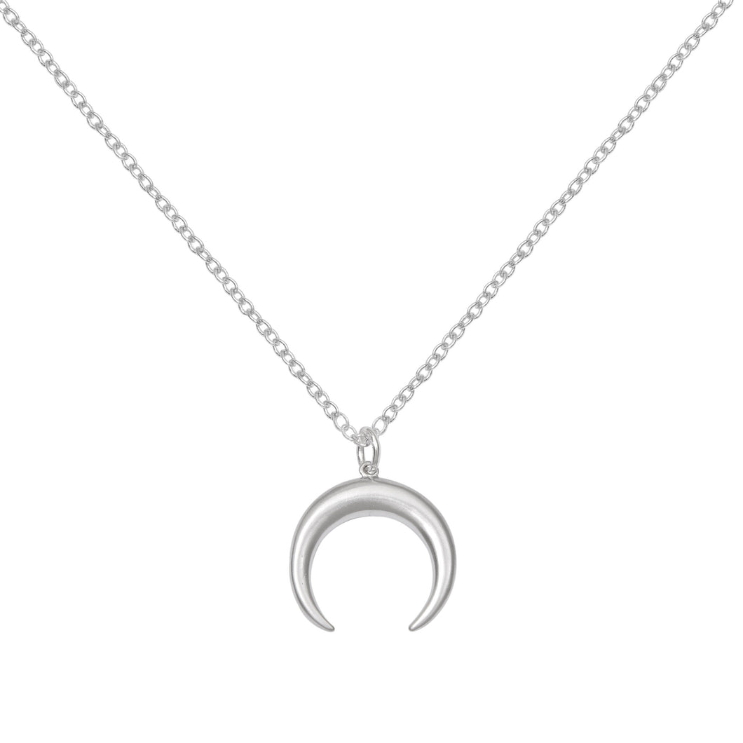 A weathered penny Hera necklace - crescent moon double horn silver