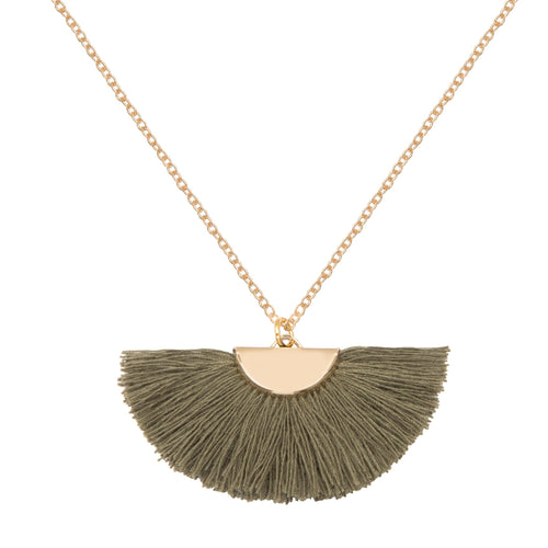 A weathered penny Theia necklace - khaki fan semi circle tassel gold